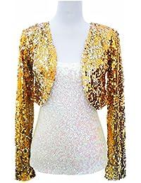 Long Sleeve Sequin Shrug Cardigan Coat Jacket Bolero Clothing for Women