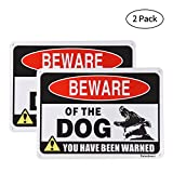 Beware of Dog Sign,10x7 inch Rust Free 30 mil Aluminum,UV Printed Weather Resistant Ink,Warning Signs Easy to Mount for Yard and Fence