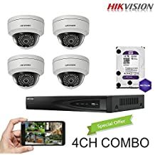 Hikvision 4CH Combo: 4 x 4MP High Defination IP Dome Cameras(DS-2CD2142FWD-I) Security System, 4 Channel NVR (DS-7604NI-E1/4P) With 1TB WD Purple HDD Installed, Built-in PoE Plug and Play, Hikvision Camera and NVR US English Version [Ships from Canada]