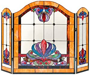 Dale Tiffany FS0111 50-Inch by 34-Inch Multicolored Anemone Fireplace Screen With Art Glass Shade