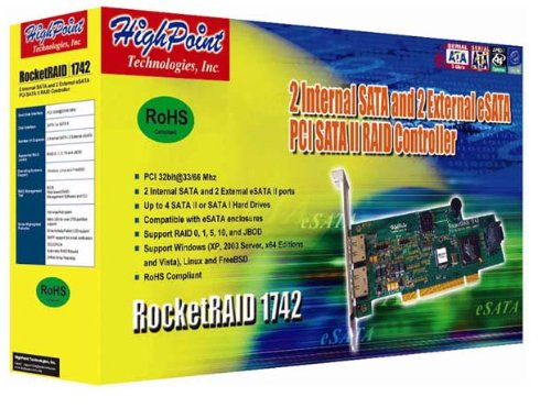 HighPoint RocketRAID 1742 4-Channel PCI SATA 3Gb/s RAID Controller RocketRAID 1742 by High Point (Image #2)