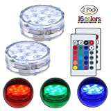 Submersible LED Lights with Remote Control Underwater Battery Operated Light,10-LED Waterpoof MultiColor Reusable Lights for Aquarium, Valentine's Day, Pond, Wedding, Garden, Swimming Pool,2 Pack