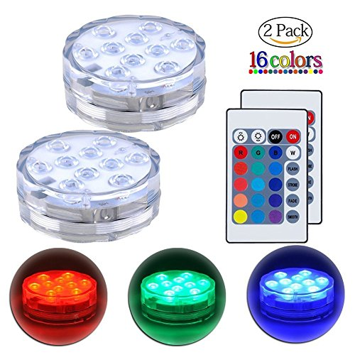 Submersible LED Lights Remote Control Underwater Battery Operated Light,10-LED Waterpoof MultiColor Lights for Wedding, Valentine's Day, Aquarium, Garden, Swimming Pool, Reusable Light 2Pack by GUQI