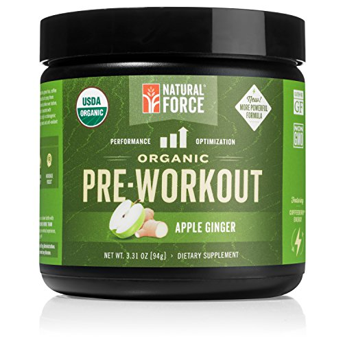 Organic Pre Workout - Apple Ginger *Best Preworkout Powder for Energy and Focus* Creatine Free Natural Supplement to Burn Fat and Build Muscle. Gluten Free, Non-GMO by Natural Force, 3.31 Ounce