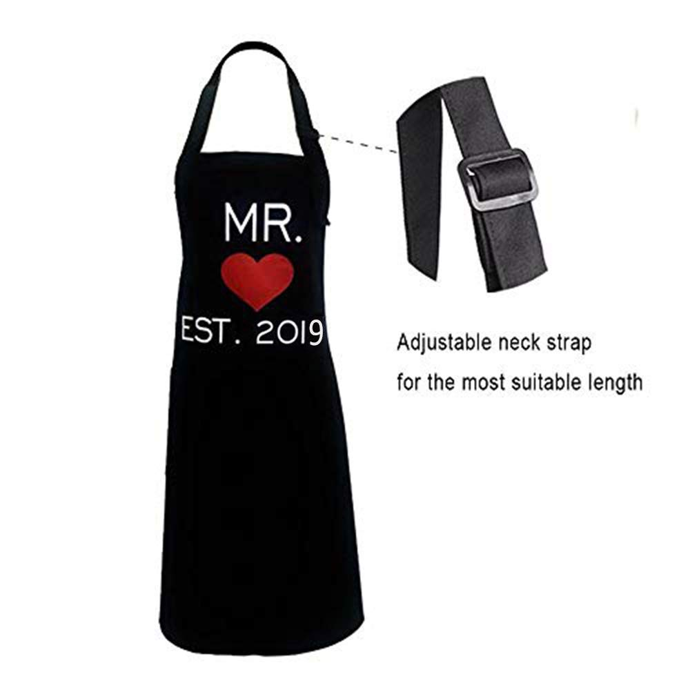 KMCH Mr. and Mrs. Aprons Couples Kitchen Aprons Funny Cooking Bibs Gifts for Wedding Newlyweds Engagement, Anniversary Bridal Shower Gift His and Hers Sets (Love Heart) ... by KMCH