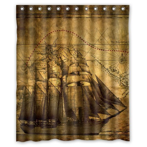 Sea Secret Vintage Design New Style Nautical Vintage Sailing Pirate Ship  Theme Polyester Bathroom Shower Curtain 60(W)(H) Inch