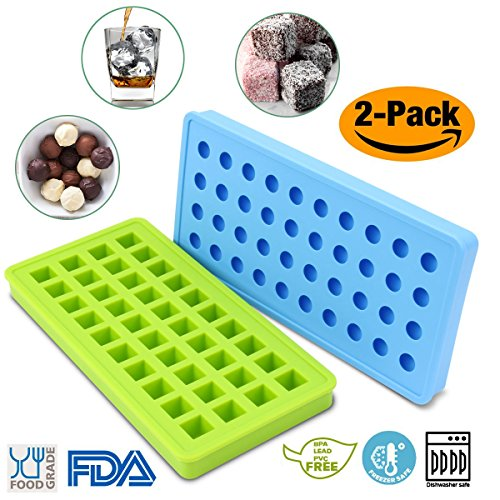 Silicone Candy Chocolate Mold Sets, STYDDI Gummy Mold Mini Ice Cube Tray Molds 40-Cavity Square and 40-Cavity Ball Molds, Easy Release & BPA Free (Tip Tray 1/2')