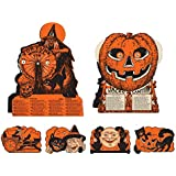 Vintage Halloween Decorations Including Hanging Cutouts Plus Witch and Jack-O-Lantern Fortune Wheel Games (6 Piece) s