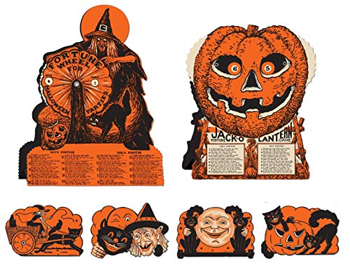 Vintage Halloween Decorations Including Hanging Cutouts Plus Witch and Jack-O-Lantern Fortune Wheel Games (6 Piece) s -