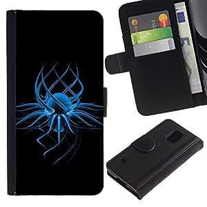 LASTONE PHONE CASE / Lujo Billetera de Cuero Caso del tirón Titular de la tarjeta Flip Carcasa Funda para Samsung Galaxy S5 V SM-G900 / Abstract Blue Art