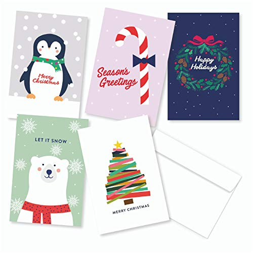 Holiday Card Set - 30 Card Pack of Assorted Christmas Greeting Cards - 6 of each design, INCLUDES White Envelopes by Well Krafty