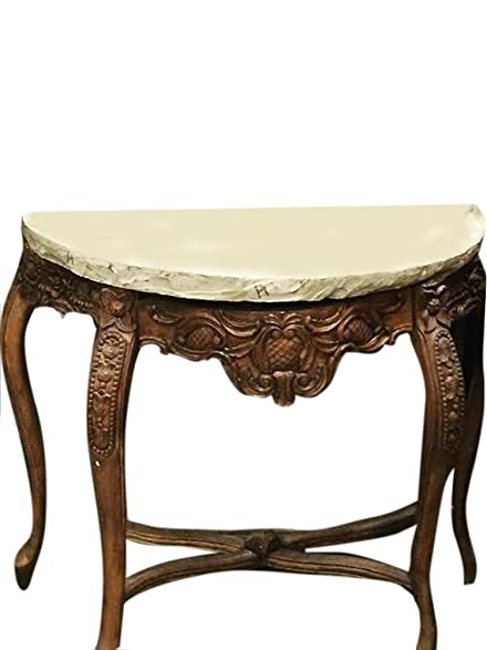 Indian Wood Stone Console Table Handcrafted Cabriole Legs Table