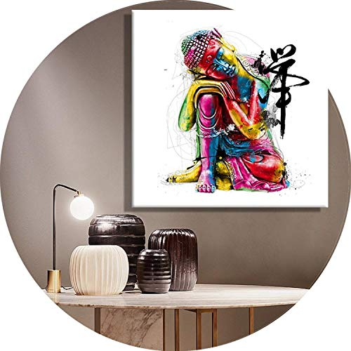 three thousand 1 Panel Abstract Buddha Canvas Oil Painting Wall Picture for Living Room Cuadros Decoration Modern Zen Printing Unframed,20x20cm no Frame