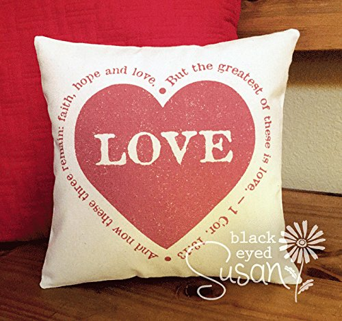 Pillow Cover Love Heart w Verse Natural Canvas or Lined Burlap 18x18 And now these three remain faith hope and love by Pillow Cover