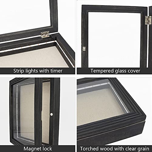 """HSicily LED Shadow Box Frame 11x14""""Shadow Box Display Case with Lights Wood Memory Box Linen Back Glass Window for Keepsakes Memorabilia Awards Bouquet Military Photos Black"""