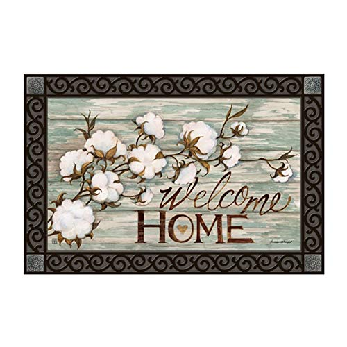 Studio M MatMates Cotton Bolls Spring Summer Decorative Floor Mat Indoor or Outdoor Doormat with Eco-Friendly Recycled Rubber Backing, 18 x 30 ()