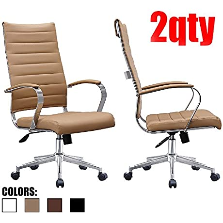 2xhome Set Of Two 2 Tan Modern High Back Tall Ribbed PU Leather Swivel Tilt Adjustable Chair Designer Boss Executive Management Manager Office Conference Room Work Task Computer