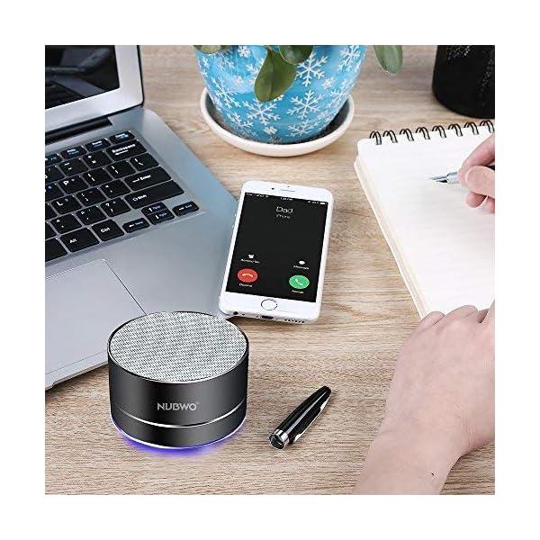 Enceinte Bluetooth, NUBWO A2 Enceinte Bluetooth Mini Portable de Voyage, Enceinte sans Fil avec des Basses Enforcées et des Appels en Mains Libres, Fonctionne avec iPhone, iPad, Samsung - Noir 6