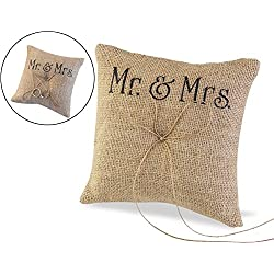 5.9''x5.9'' Mr Mrs Wedding Ring Pillow Burlap Jute Bow Twine Rustic Ring Bearer with Bowknot by Eamall