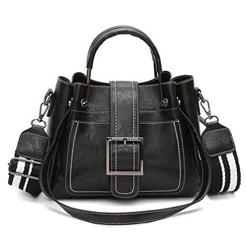 Retro Women's Leather Corssbody Bag Tote Handbag (Black) by Napoo