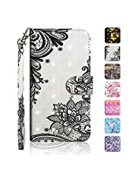 iPhone 6 / iPhone 6S Case, The Grafu® Wallet Case PU Leather 3D Painted Folio Flip Cover, Card Holder Stand Case with Wrist Strap for Apple iPhone 6 / iPhone 6S, Flower