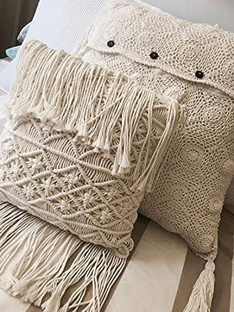 Almohadas decorativas macramé boho manta almohadas borla hecho a mano punto fundas de almohada suelo cojín 15,7