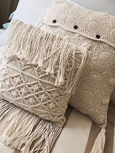 Boho Decorative Pillows Macrame Throw Pillows Tassel Handmade Knit Pillowcases Floor Cushion 15.7in15.8in