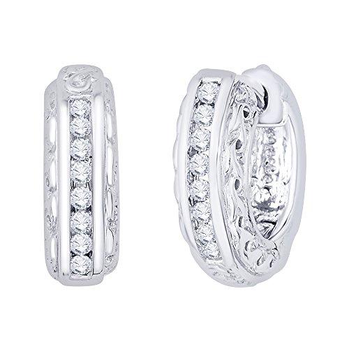 KATARINA Channel Set Diamond Huggie Earrings in 10K White Gold (1/4 cttw, G-H, I2-I3)