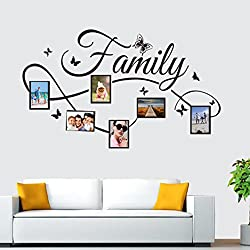 Pbof Family Photo Frame Wall Decal. Peel & stick vinyl sheet, easy to install & apply history decor mural for home, bedroom stencil decoration. DIY Photo Gallery Frame Decor Sticker