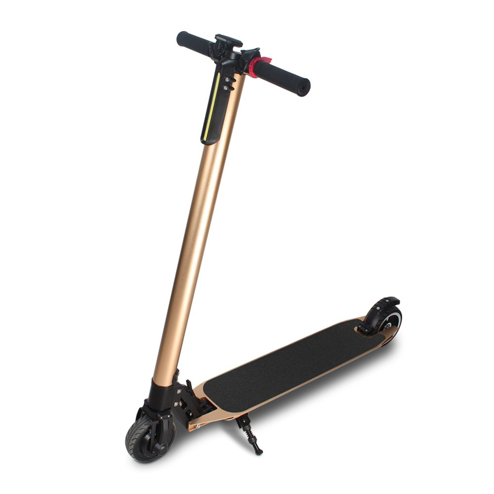 Foldable Electric Scooter with LCD Screen High Speed Scooter Easy to Carry and Save Place Mini Ebike Aluminum Alloy Motor Scooter For Adult, Champaign Gold