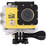 Acouto Action Camera 4K 12MP 30M Waterproof Underwater Sport Camera Vedio Camcorder 170 Degree Wide Angle Wifi Cam with Waterproof Housing Case Accessories kits (yellow)