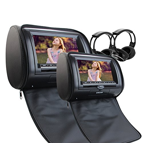 Free 2 IR Infrared Headphones include Dual Car Headrest CD DVD Player 7Inch 800480 LCD Screen Audio Black Leather-Style Car DVD/Multimedia Headrest support Remote Control USB SD IR FM Transmitter