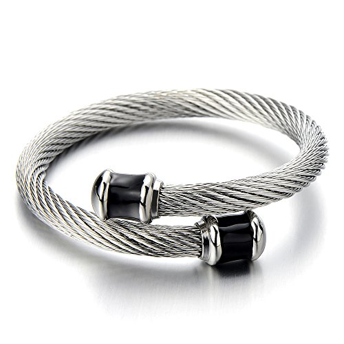 Stainless Twisted Bangle Bracelet Silver