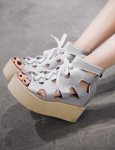 ShangYi Women's Shoes Platform Peep Toe / Platform / Creepers Sandals / Boots Outdoor / Dress Black / White / Silver Silver Axu9ArDZN