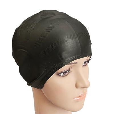 Bonnet de Bain Homme, Beetest® Mode Portable Adulte Bain Cap Femmes Hommes Tête Cheveux Oreilles Silicone Confortable Solide Natation Couverture Cap