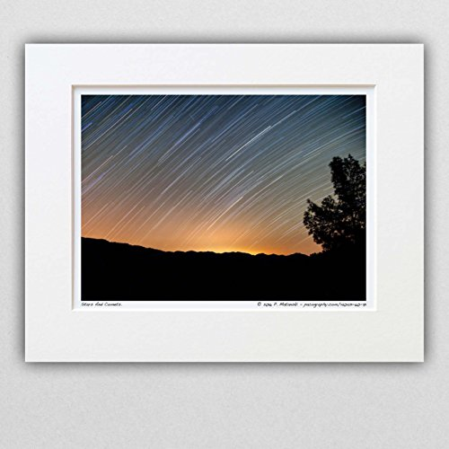 140421-60-71 Stars And Comets. 8x10 Matted Photograph, Star Trails Time-lapse. Best for Home and Office Decoration, Wall Art Room - Photographic Dye Magenta