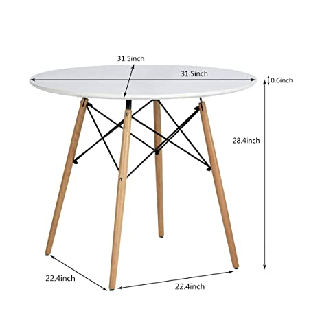 Artwell Kitchen Dining Table Eames Style White Round Coffee Table Mid Century Modern Leisure Wood Tea Table Office Conference Pedestal Desk Large Size-Diameter 31.5