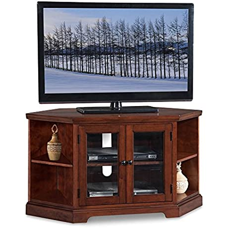 46 In Corner TV Stand With Bookcase In Brown Cherry Finish