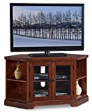 46 in. Corner TV Stand with Bookcase in Brown Cherry Finish