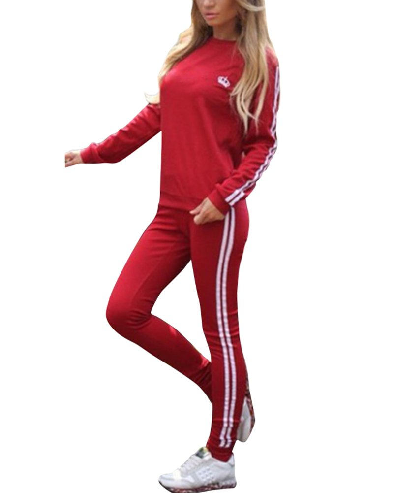 Minetom Damen Mode Streifen Trainingsanzug Sportswear 2 Stück Set Frauen Mode Sport Yoga Outfit Jogginganzug Lange Ärmel Sweatshirt Top Lange Hose JH180725QW-DE07
