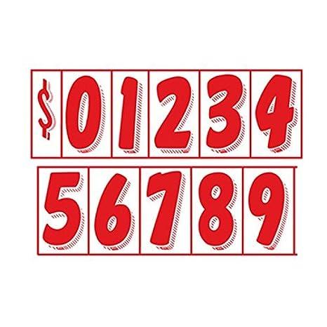 7 1//2 inch, Red On White 7 1//2 Vinyl Number Decals 11 Dozen Car Lot Windshield Pricing Stickers DEALER STICKERS DS-1