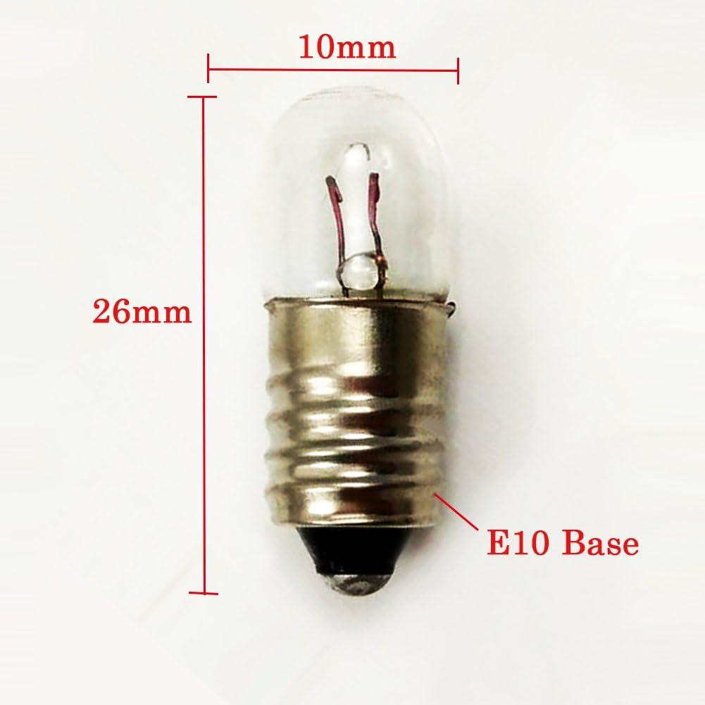 Lot de 10 ampoules /à vis E10 18 V 2 W Blanc chaud 18V 2W