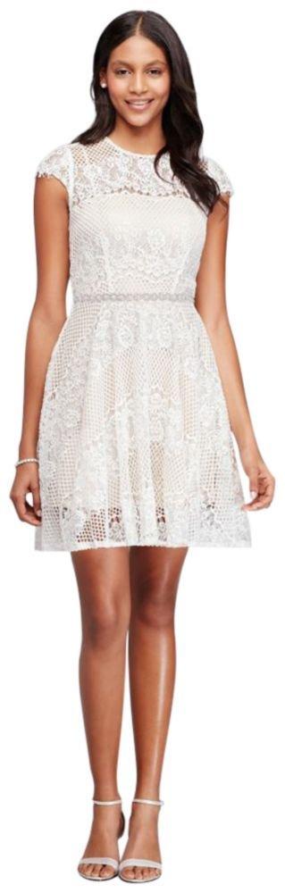 David's Bridal Short Cap Sleeve Lace Dress With Beaded Waist Style 6628KP6C, Ivory, 2
