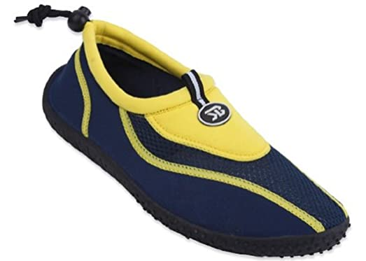 New Mens Slip on Water Pool Beach Shoes Aqua Socks 5 Colors Available (7 5907Yellow)