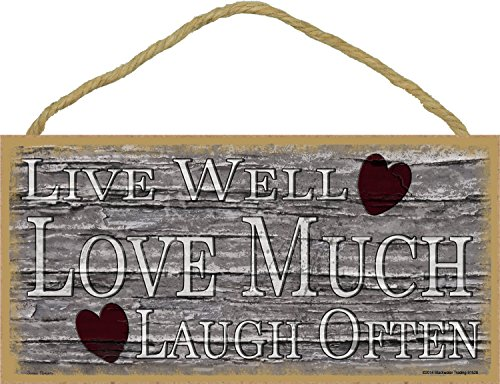 (Blackwater Trading Hearts Live Well Love Much Laugh Often Primitive Rustic Sign Plaque)