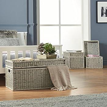 VonHaus Set of 3 Woven Wicker Storage Trunks Chest - End of The Bed Storage Ottoman Bench Multi-Purpose Home Organizer