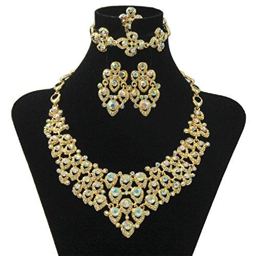 Bellystar European Lady Golden-Plated Color Crystal Rhinestone Bride Wedding Dress Jewelry Sets