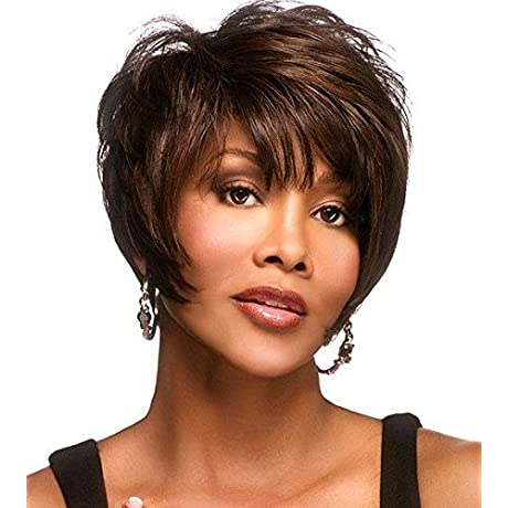 Women Fashionable Short Straight With Long Oblique Bangs Wigs For Cosplay Party Daily Use Brown
