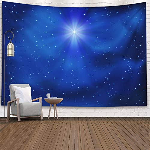 Gesmatic Popular Wall Hanging Tapestry, 80X60 Inches Premium Fabric Shining Christmas Star Night Sky Background Accessories for Home Decoration Bedding Decorative Tapestry,Blue (Sky For Color Wall Blue Curtain)