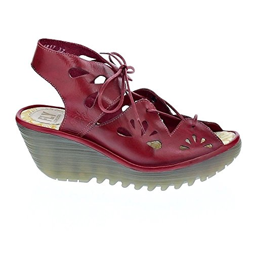 Fly London Womens Yote Wedge Sandal, Rött Läder